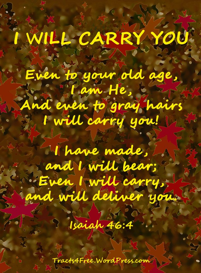 """I will carry you"" Bible verse poster. Isaiah 46:4."