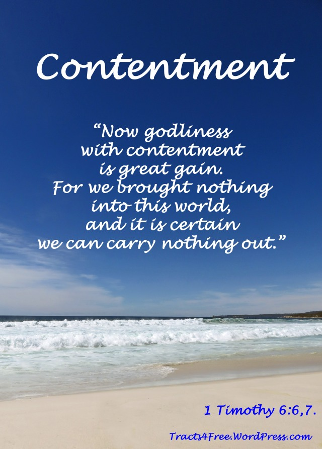 Contentment Christian Poster. Bay of Fires, Tasmania. Photo and poster by David Clode.