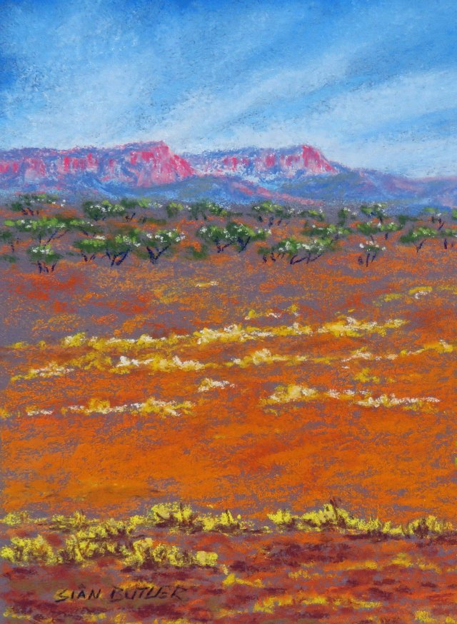 Pastel Mountains. Australian Outback painting by Sian Butler.