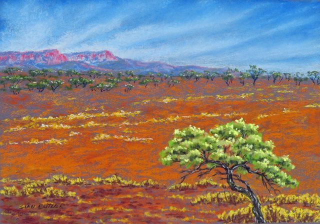 """Mountain Blush"". Central Australia. Pastel by Sian Butler."
