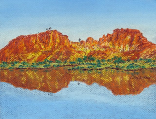 Rainbow Valley. Australian Outback pastel painting by Sian Butler.