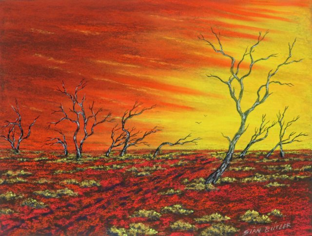 """Dawn over the desert"". Pastel by Sian Butler."