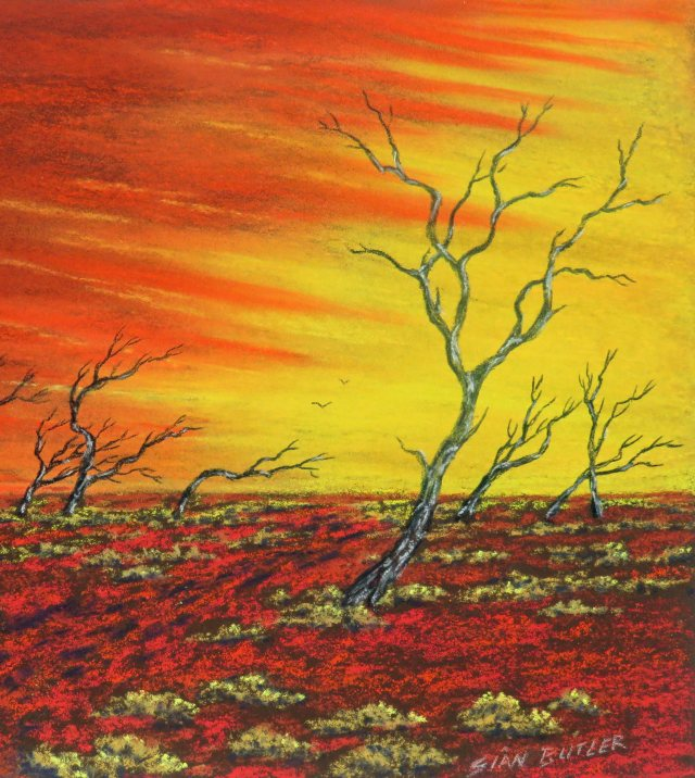 """Dawn over the Desert"". Australian Outback painting by Sian Butler."