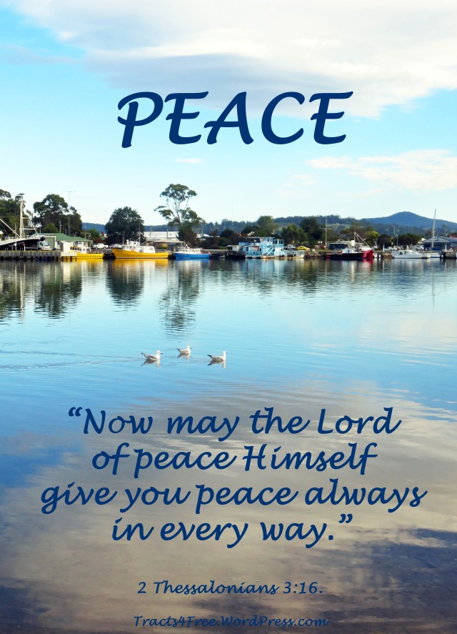 Peace Poster. Georges Bay, St Helens, Tasmania. Photo and poster by David Clode.