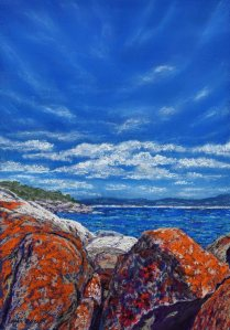 """Bay of Fires"". Australian seascape painting in pastel by Sian Butler. Burns Beach near St Helens, Tasmania, Australia."