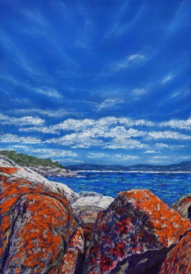 """Bay of Fires"". Australian seascape painting in pastel by Sian Butler. Burns Beach near St Helens, Tasmania, Australia."