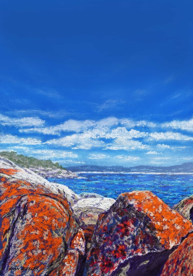 Poster background. Pastel seascape painting by Sian Butler. Bay of Fires area, Tasmania, Australia.