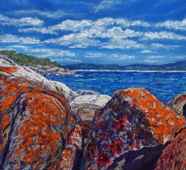 """Bay of Fires"", Tasmania. One of Sian's new seascape paintings. Pastel seascape painting by Sian Butler."