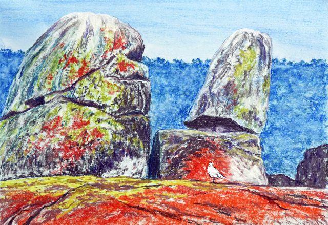 """Binalong Boulders"". Binalong Bay seascape painting. Pastel painting by Sian Butler."