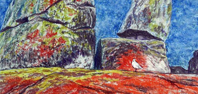 """Binalong Boulders Panorama"". Pastel painting by Australian artist Sian Butler."