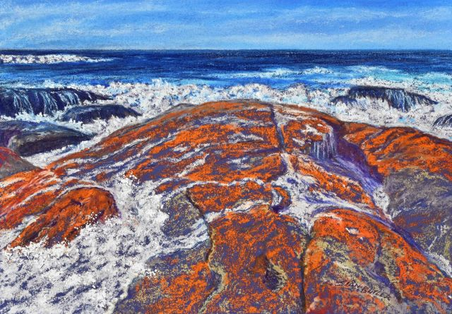 Bay of Fires. Pastel seascape by Sian Butler.