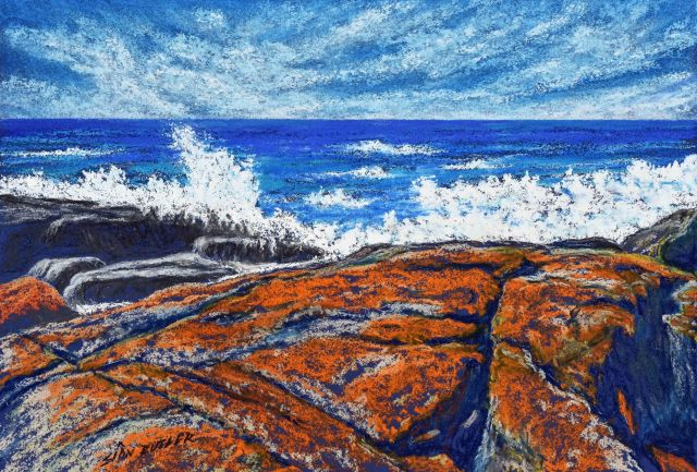 """Bay of Fires 3"". Seascape pastel painting by Sian Butler."