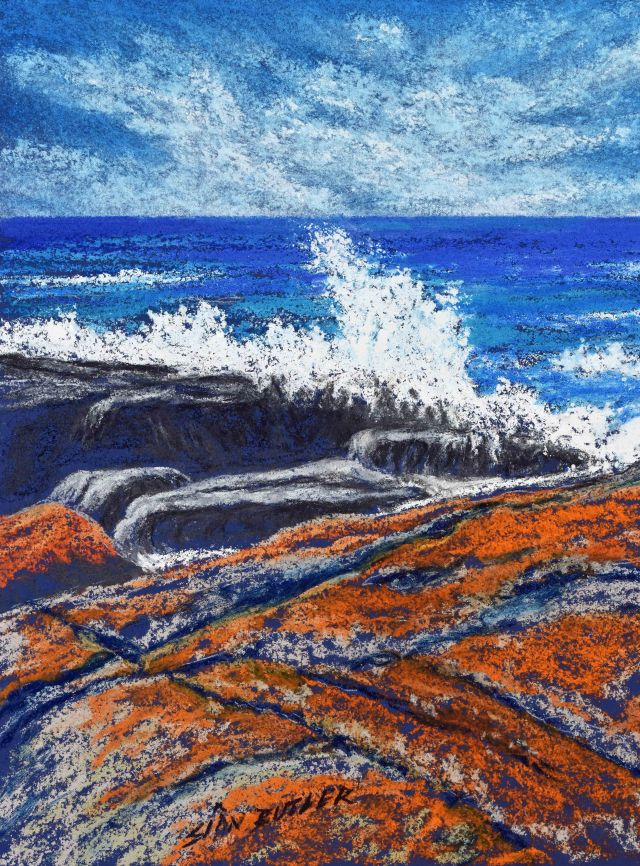 """Bay of Fires 3 composition 2"". Pastel seascape by Sian Butler."