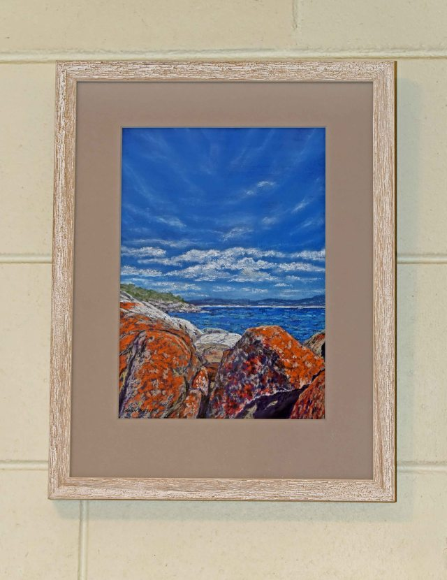 Framed painting.