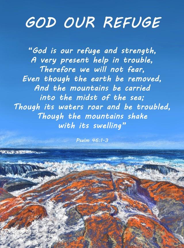 """""""God Our Refuge"""" scripture poster."""