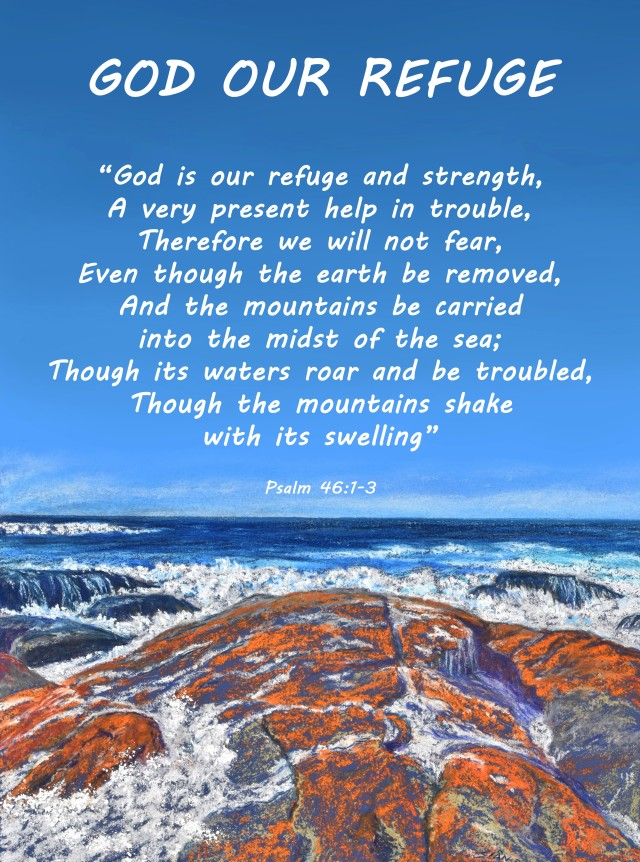 """God Our Refuge"" scripture poster."