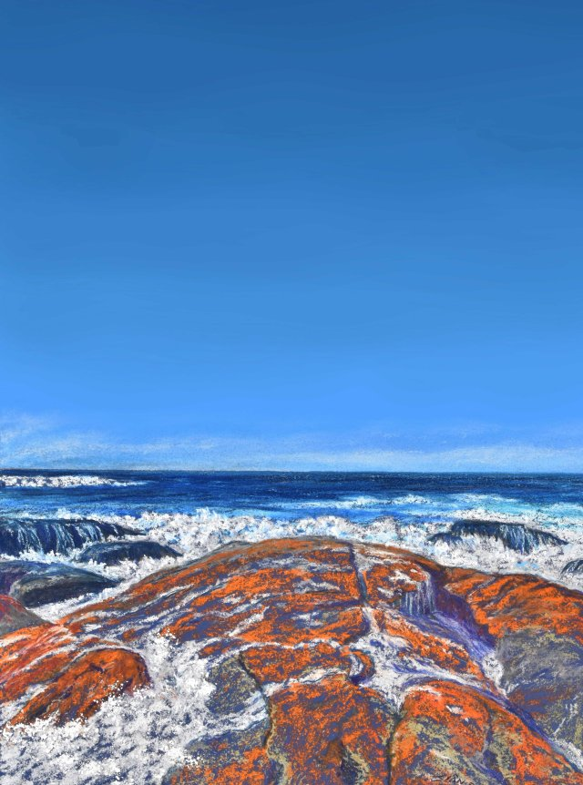 """""""Bay of Fires 2"""". Sian Butler. I have extended the sky in Photoshop, so that it can be used to make posters."""
