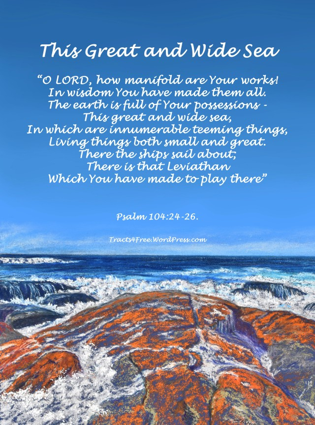 This Great and Wide Sea. Bible Verse poster. Pastel seascape painting by Sian Butler.