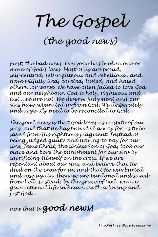 The Gospel poster. Tracts4Free.WordPress.com.