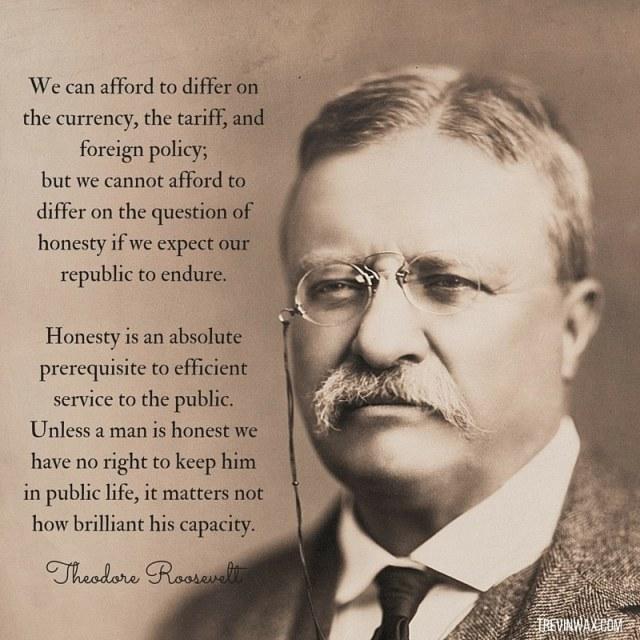 Honesty quote. Theodore Roosevelt.