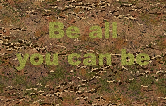 A popular US Army recruitment slogan for many years. Camouflage and poster by David Clode.