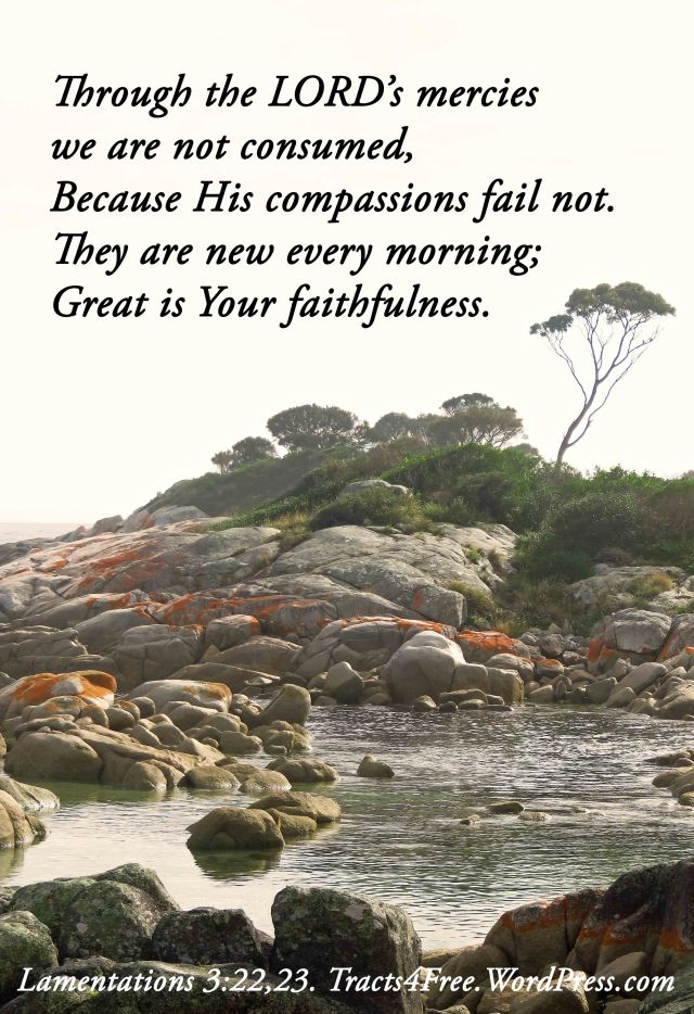 Great is Thy faithfulness poster. The scene was photographed at Binalong Bay, Tasmania, Australia.