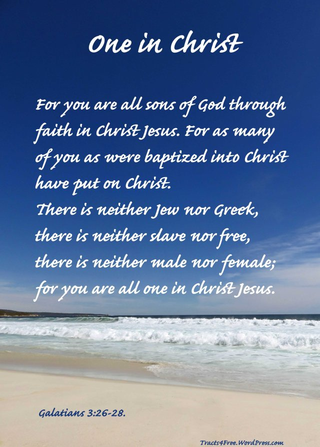 One in Christ Christian poster. Galatians Phpto and poster by David Clode. The beach ison the East coast of Tasmania, Australia.