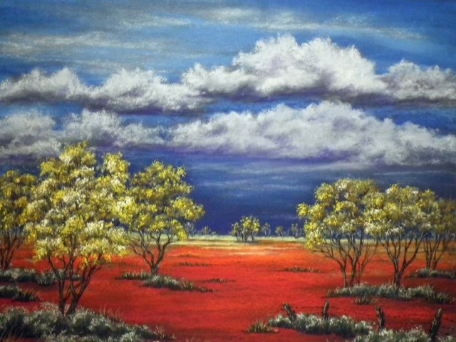 Australian Outback pastel painting by Sian Butler.
