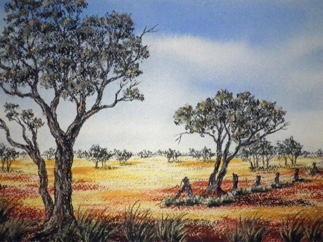 Watercolour painting of the Australian Outback by Sian Butler.