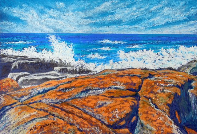 """Crashing Wave"". Pastel seascape painting by Sian Butler. Bay of Fires (""The Gardens"" area), Tasmania, Australia."