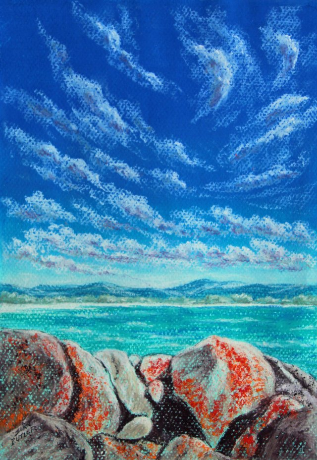 """Rock Pile"". bay of Fires (Binalong bay), Tasmania. Pastel seascape painting by Sian Butler."
