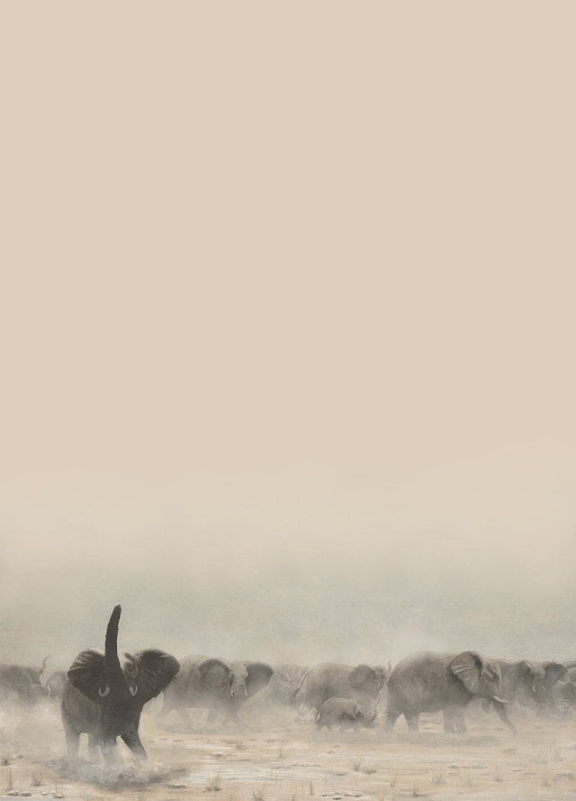 Elephant herd background (sepia version). From a painting by David Clode.